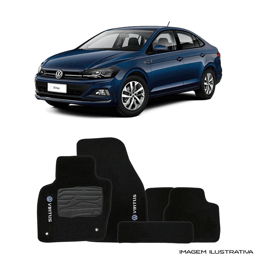 Jogo de Tapete Carpete para Volkswagen Virtus - Preto -