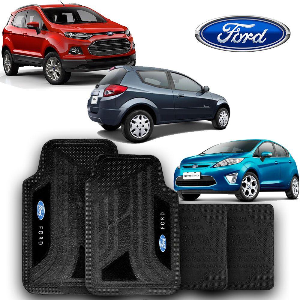 Jogo de Tapete Carpete Universal Ford Fiesta Focus Ka Escort Courier - Preto