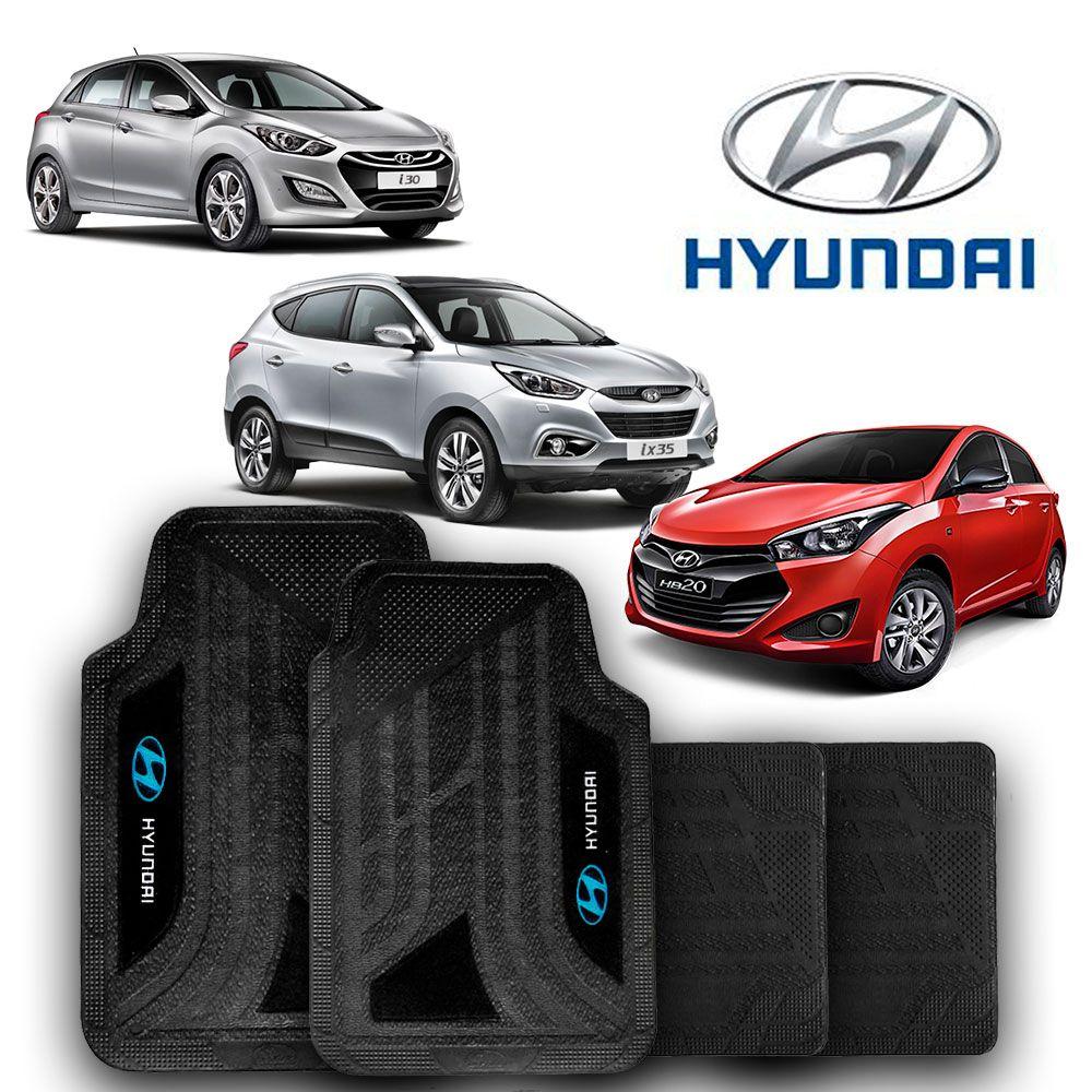 Jogo de Tapete Carpete Universal Hyundai HB 20 HB20s i30 ix35 - Preto