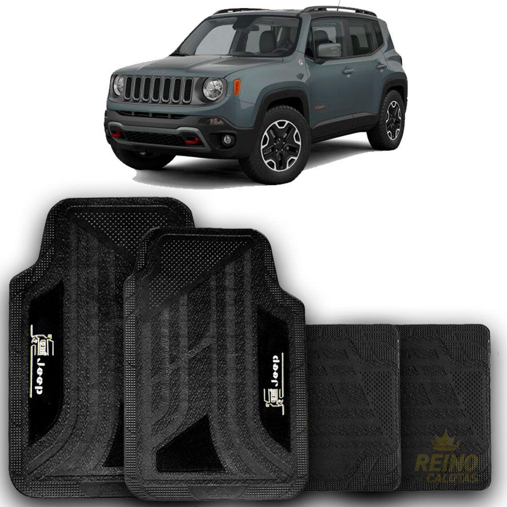 Jogo de Tapete Carpete Universal Jeep Renegade, Compass - Preto