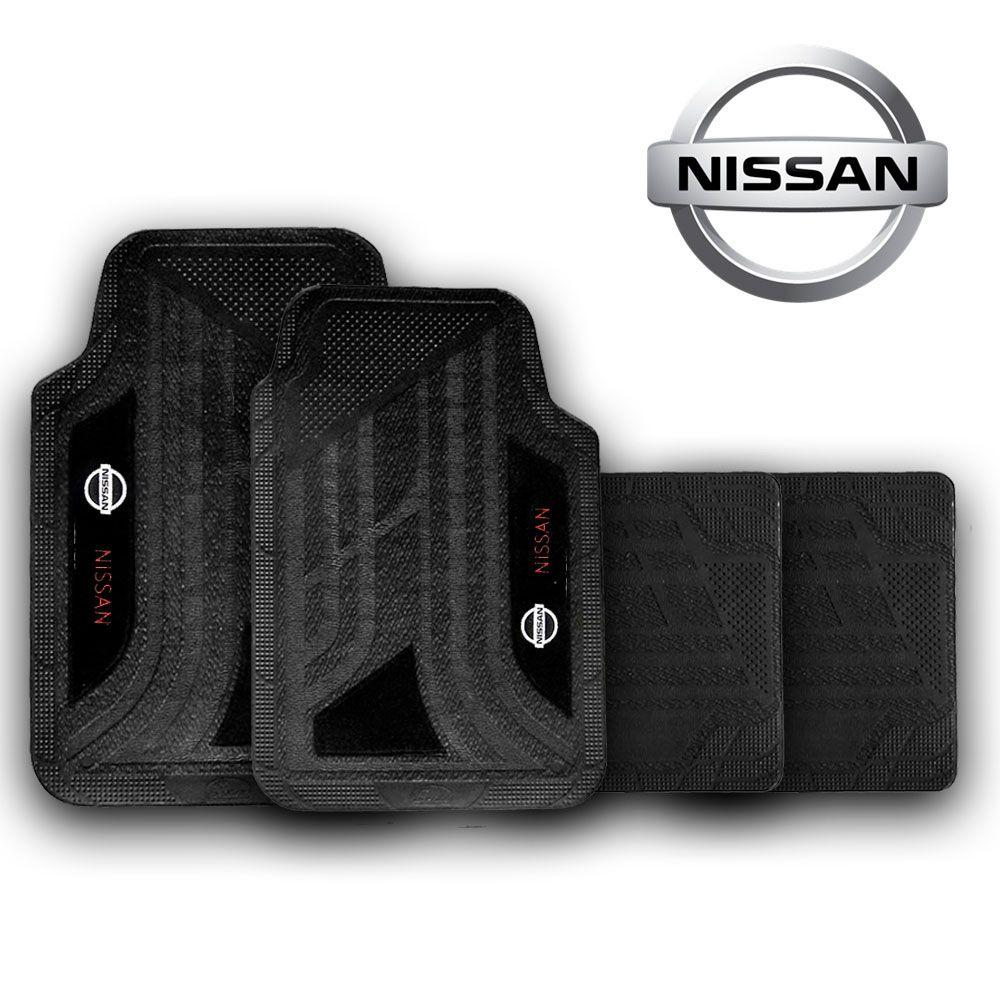 Jogo de Tapete Carpete Universal Nissan March Tiida Sentra Versa - Preto