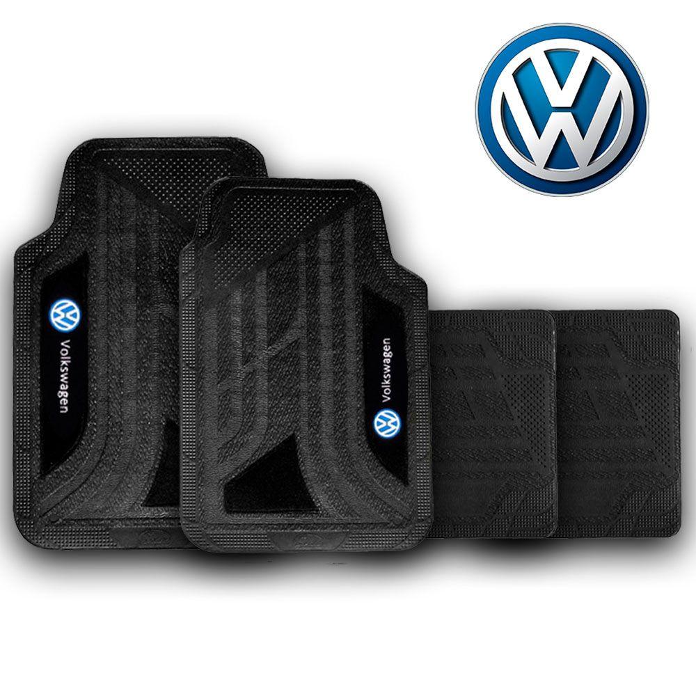 Jogo de Tapete Carpete Universal Volkswagen Gol Gol Quadrado Parati Voyage Saveiro Up - Preto