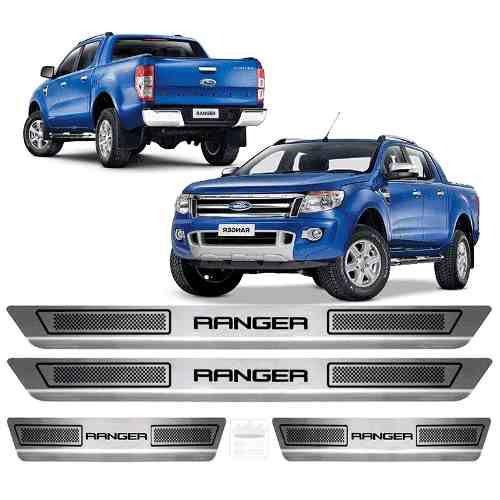 Soleira Aço Inox Escovado Anti-risco Ford New Ranger 2015 a 2019