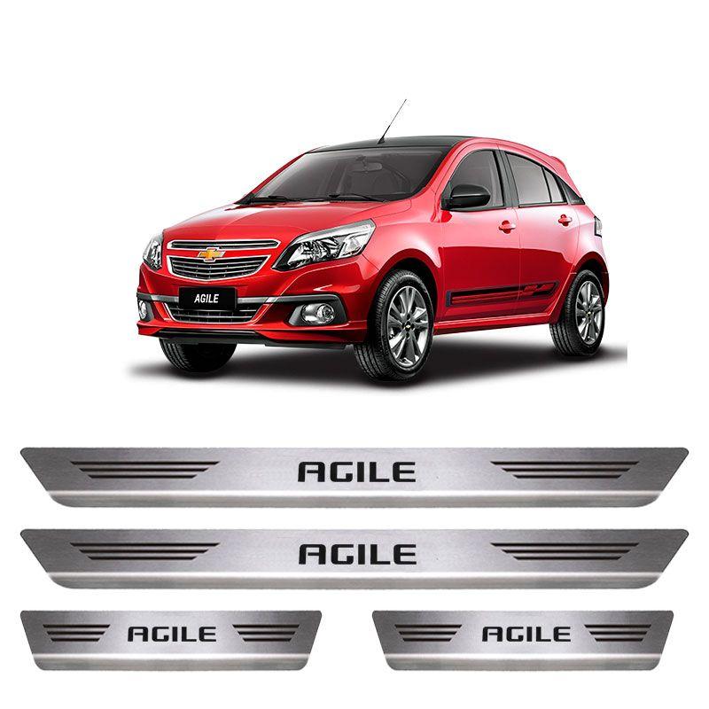 Soleira De Aço Inox Escovado Chevrolet Agile