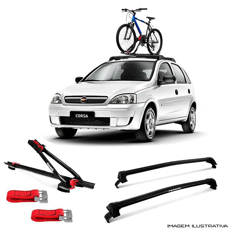 Suporte Para Bicicleta + Rack De Teto Wave Chevrolet Corsa Hatch 2002 a 2014