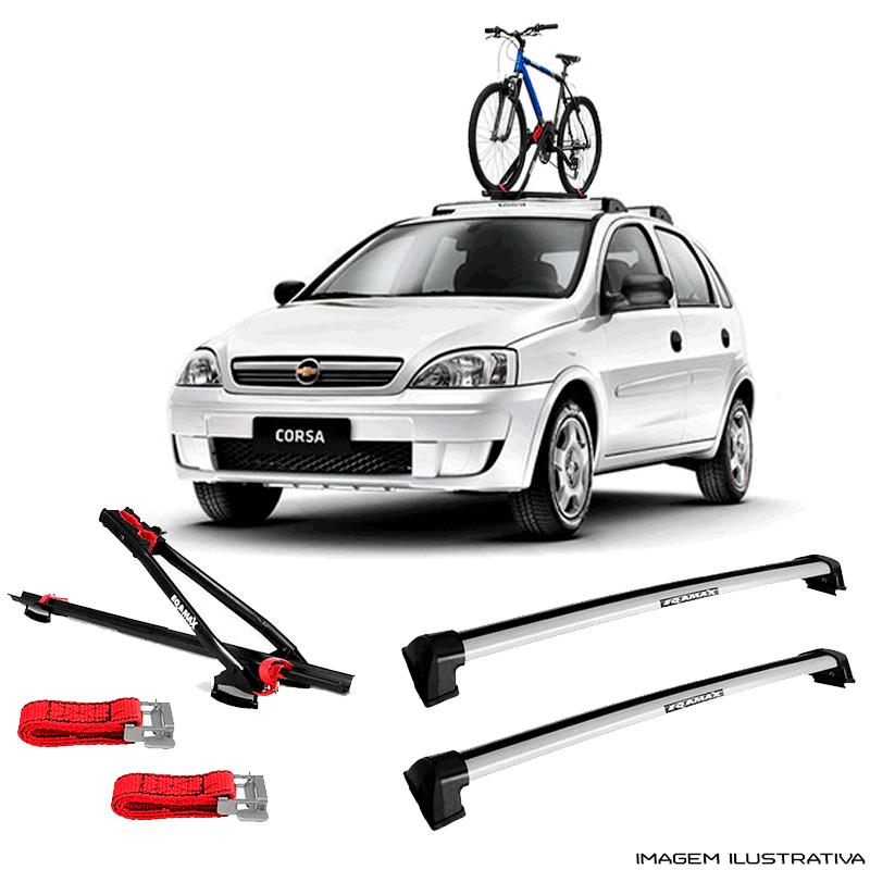 Suporte Para Bicicleta + Rack De Teto Wave Prata Chevrolet Corsa Hatch 2002 a 2014