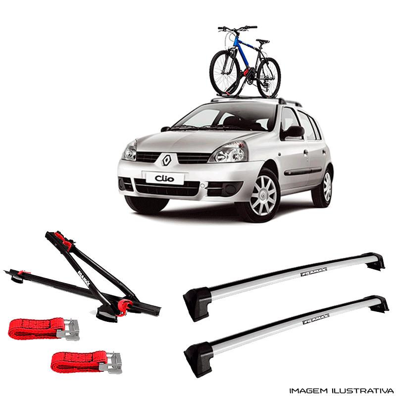 Suporte Para Bicicleta + Rack De Teto Wave Prata Renault Clio 2000 a 2016