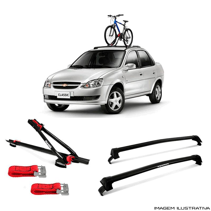 Suporte Para Bicicleta + Rack De Teto Wave Preto Chevrolet Corsa Classic  1995 a 2016