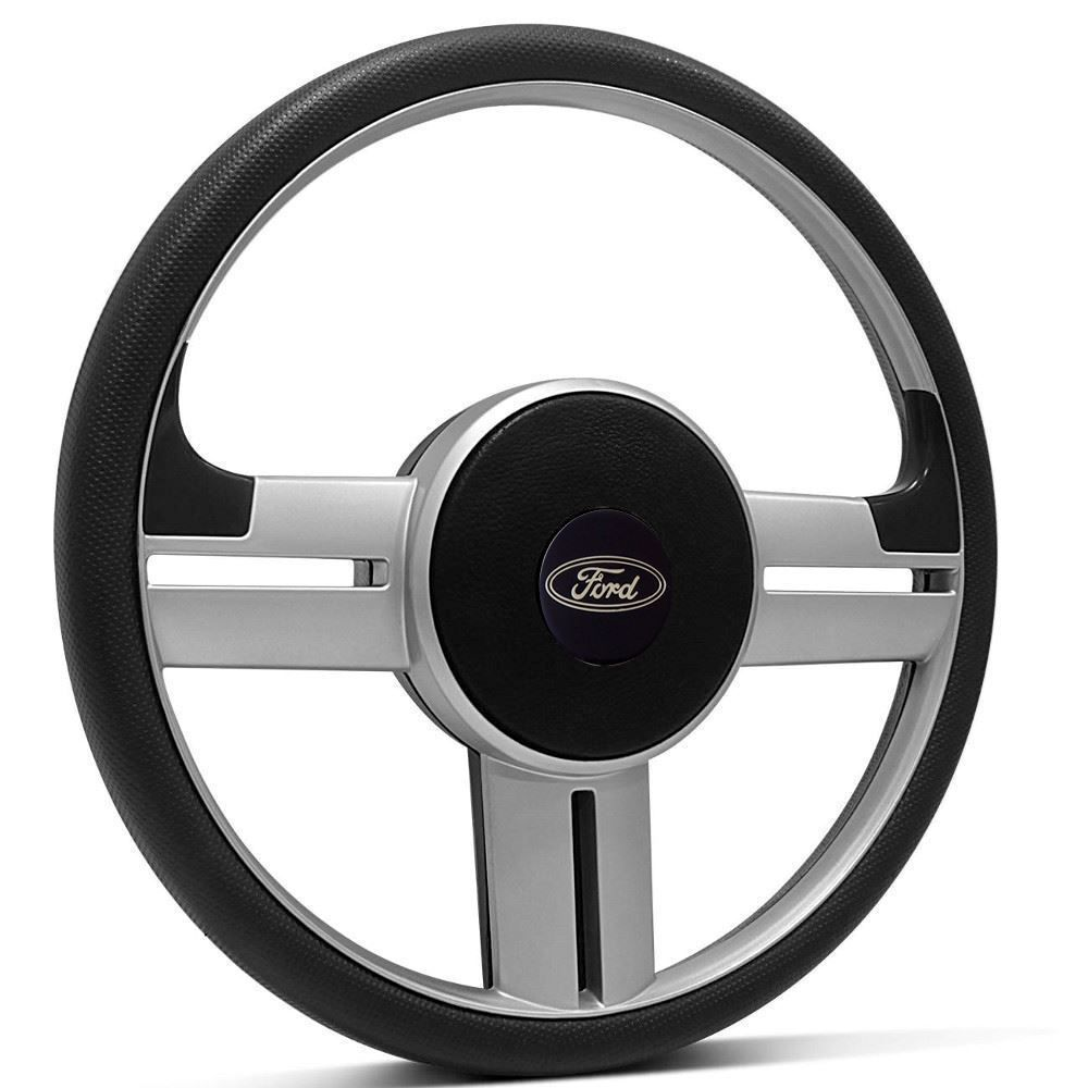 Volante Esportivo Ford Prata + Cubo Ka, Fiesta, Courier, Escort, Ecoort, Focus e outros