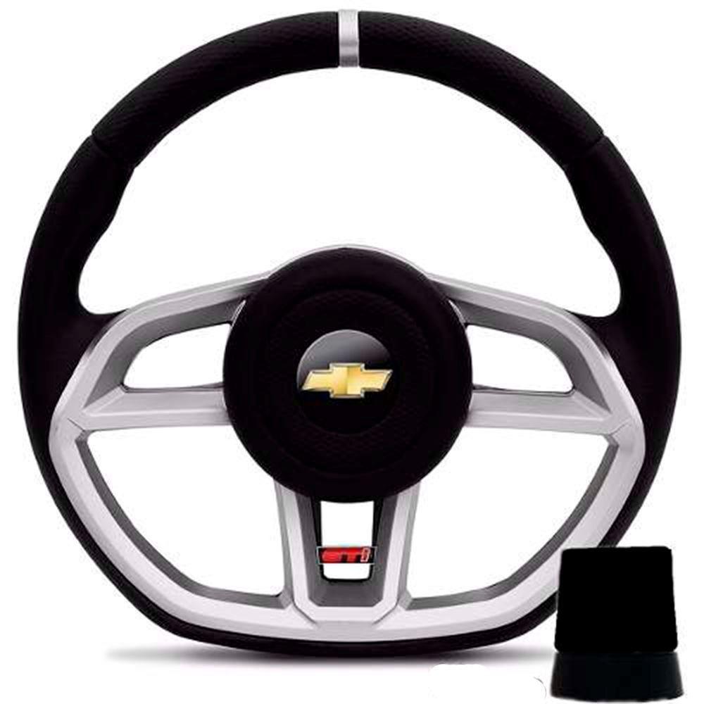 Volante Esportivo GTI Prata + Cubo para Chevrolet GM Celta, Prisma, Corsa, Monza, Vectra, Astra