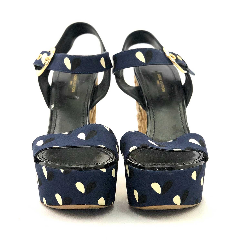 Sandália Anabela Louis Vuitton Azul