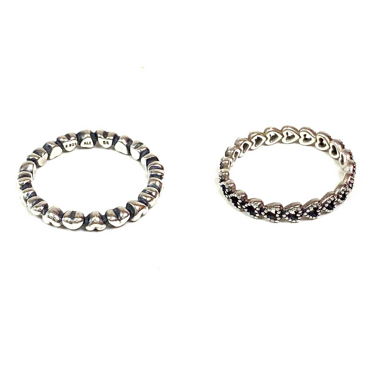 Anéis Pandora Corações Prata