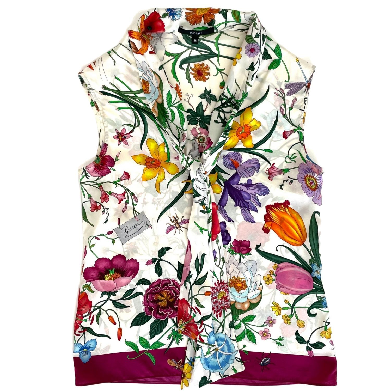 Blusa Gucci Flores Estampada