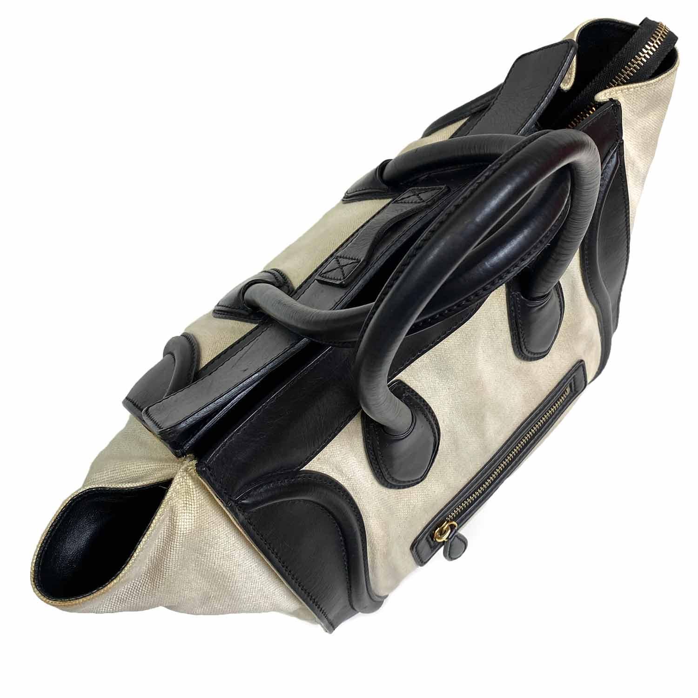 Bolsa Celine Luggage Canvas e Couro Bicolor