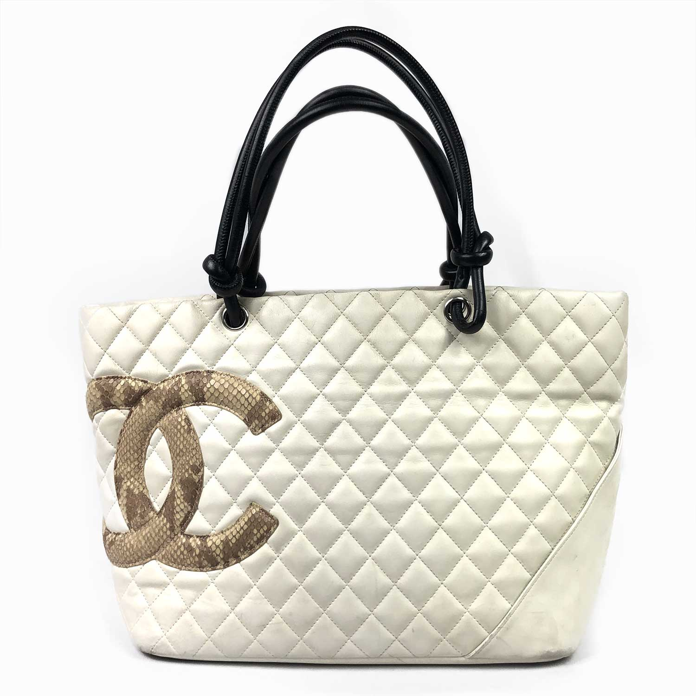 Bolsa Chanel Cambon Offwhite Snake
