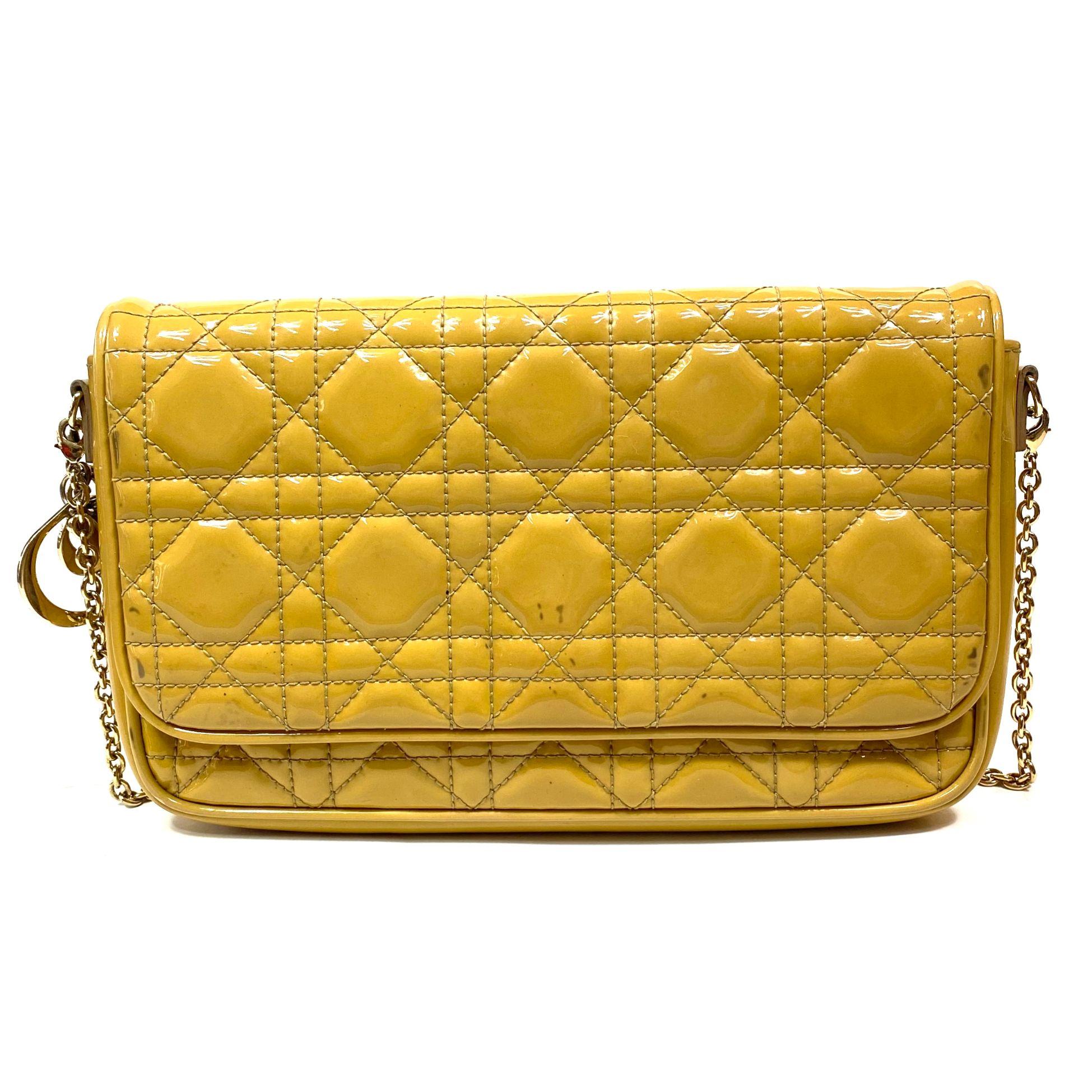 Bolsa Clutch Dior Pochette Verniz Beige