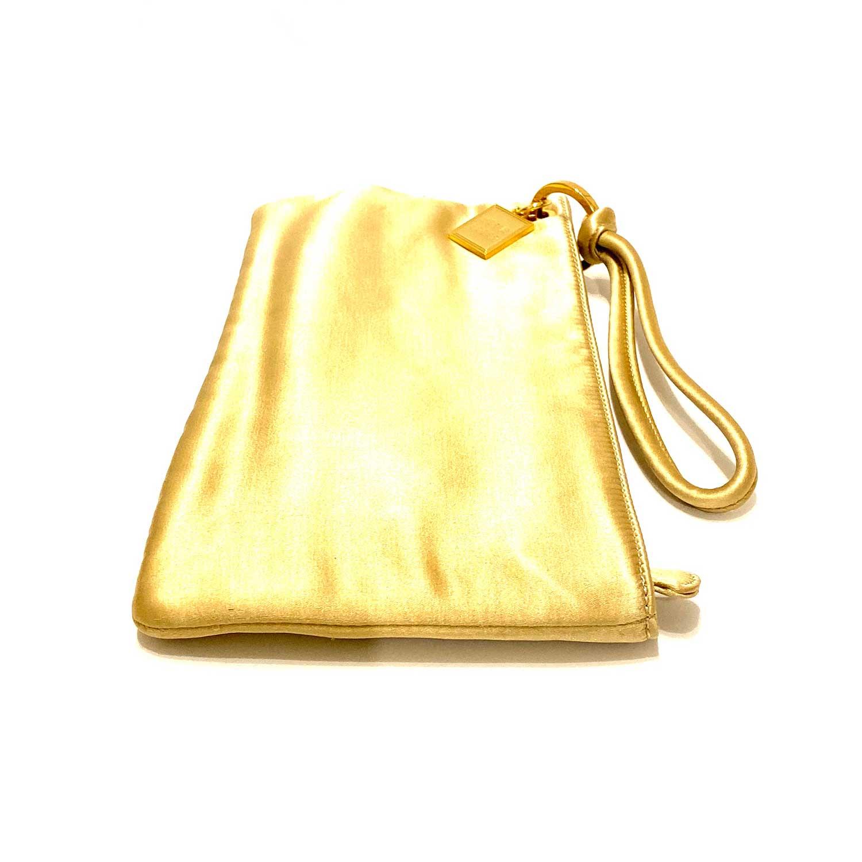 Bolsa Clutch Herve Leger Cetim Dourado