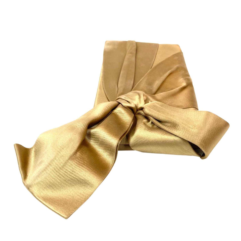 Bolsa Clutch Valentino Cetim Bow Dourada