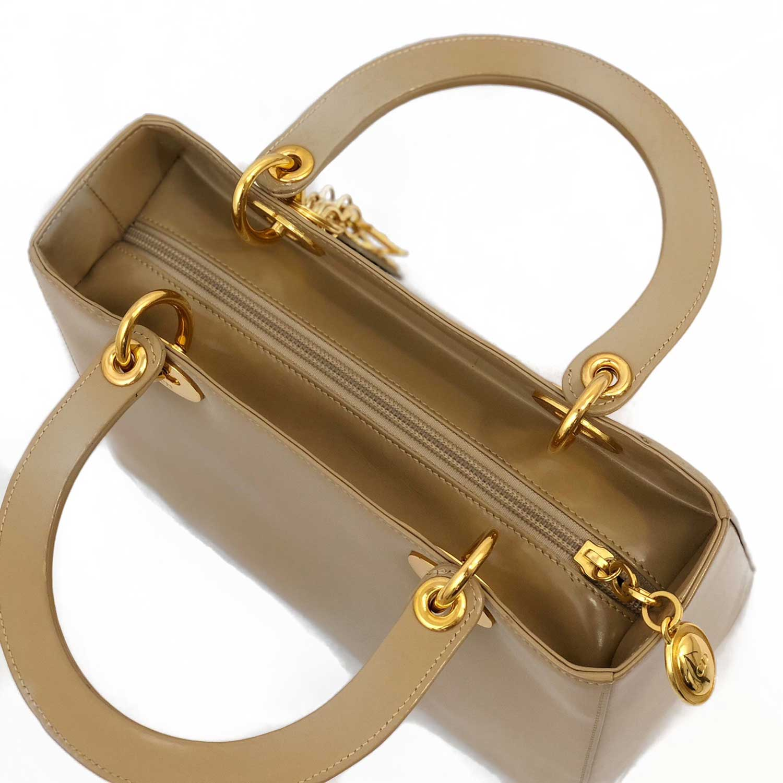 Bolsa Dior Lady Beige Metais Dourados