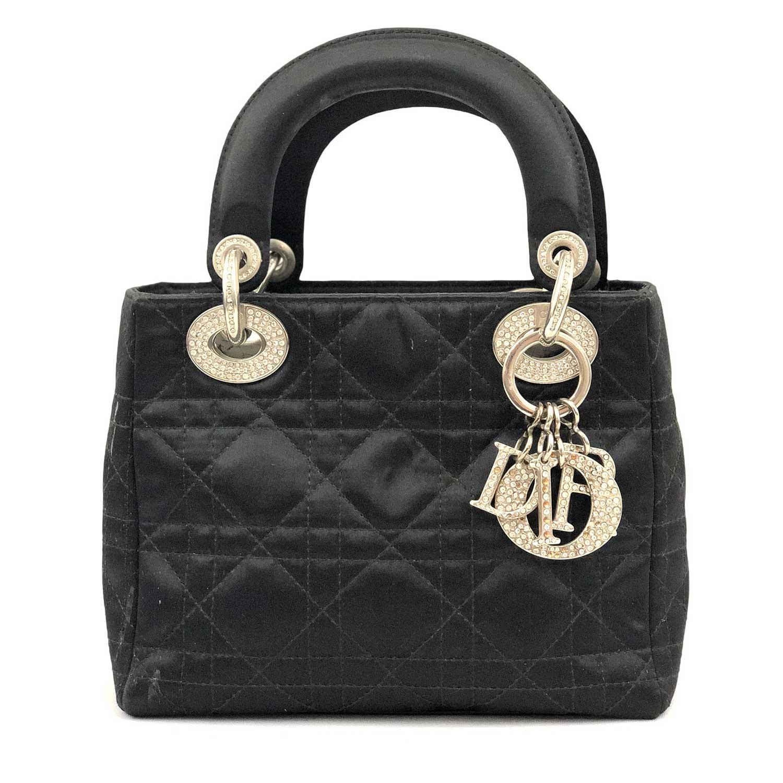 Bolsa Dior Lady Mini Preta Metais Prateados