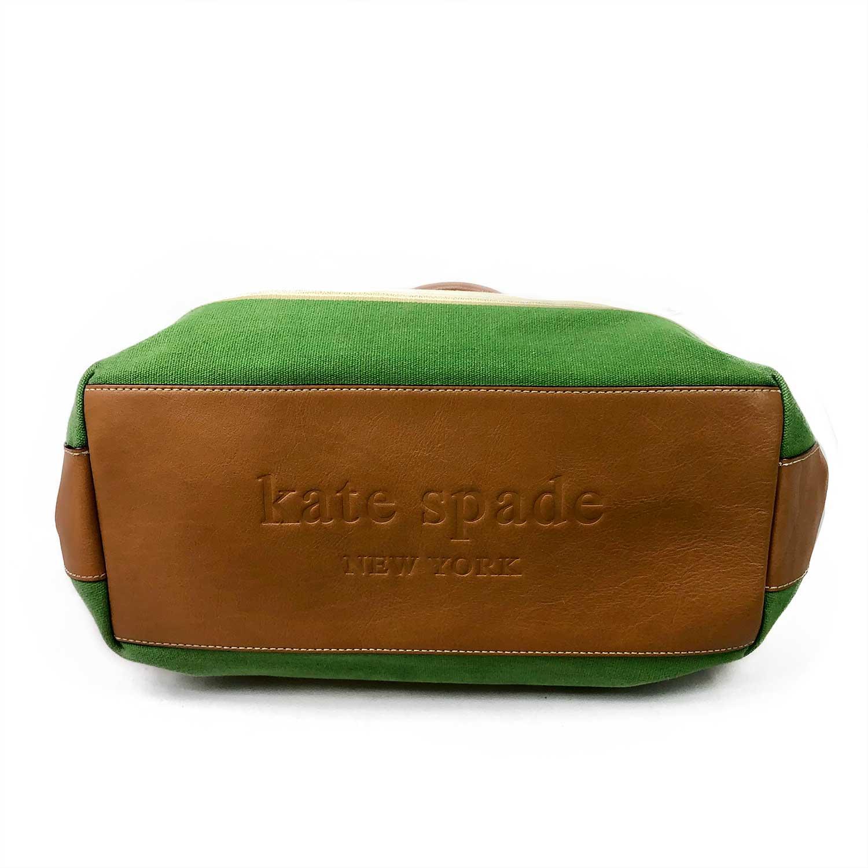 Bolsa Kate Spade Listras Cru e Verde