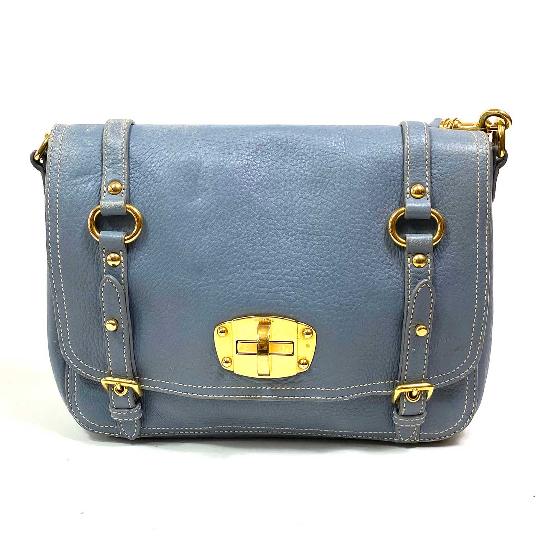 Bolsa Miu Miu Flap Crossbody Azul