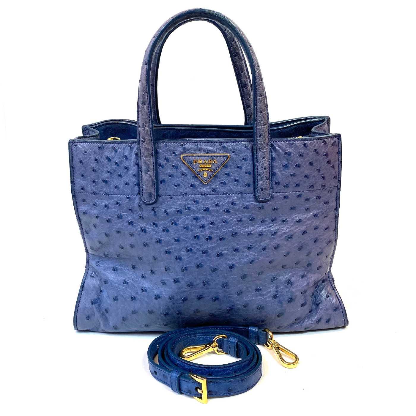 Bolsa Prada Avestruz Azul