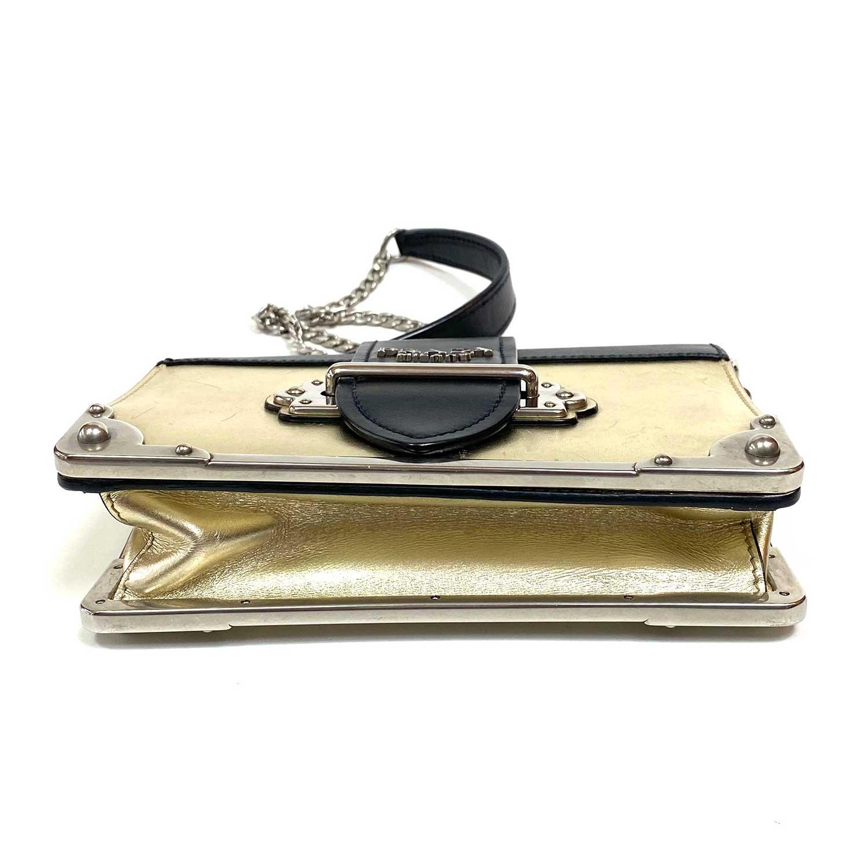 Bolsa Prada Cahier Preta e Dourada