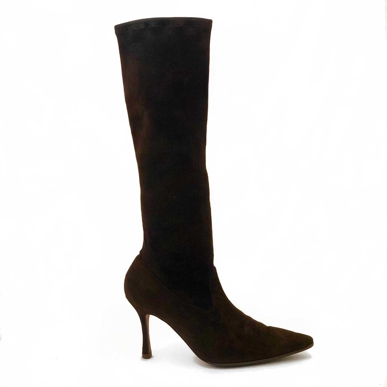 Bota Manolo Blahnik Camurça Marrom