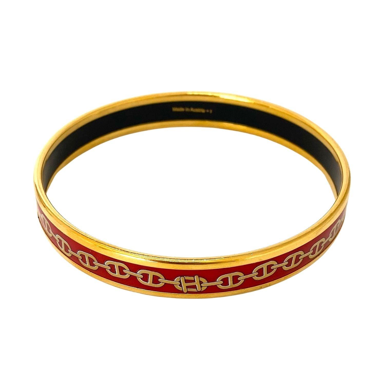 Bracelete Hermès Calèche Narrow Vermelho