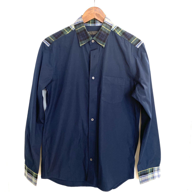 Camisa Burberry Marinho e Xadrez Gola