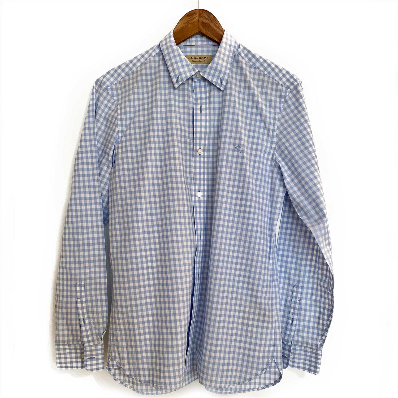 Camisa Burberry Xadrez Azul Claro e Branco