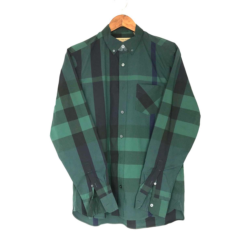 Camisa Burberry Xadrez Verde, Preta e Azul