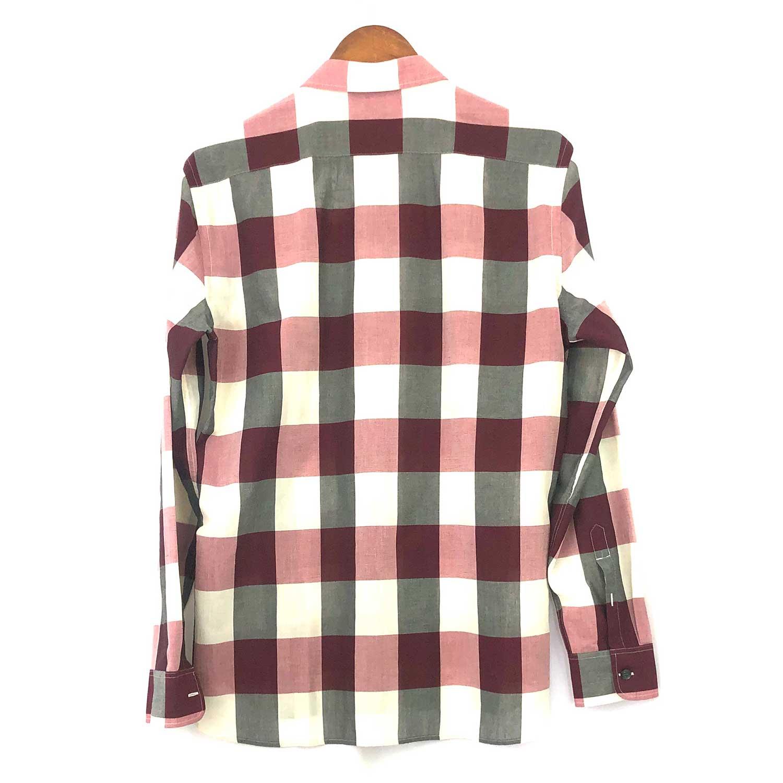 Camisa Burberry Xadrez Vinho Beige e Cinza