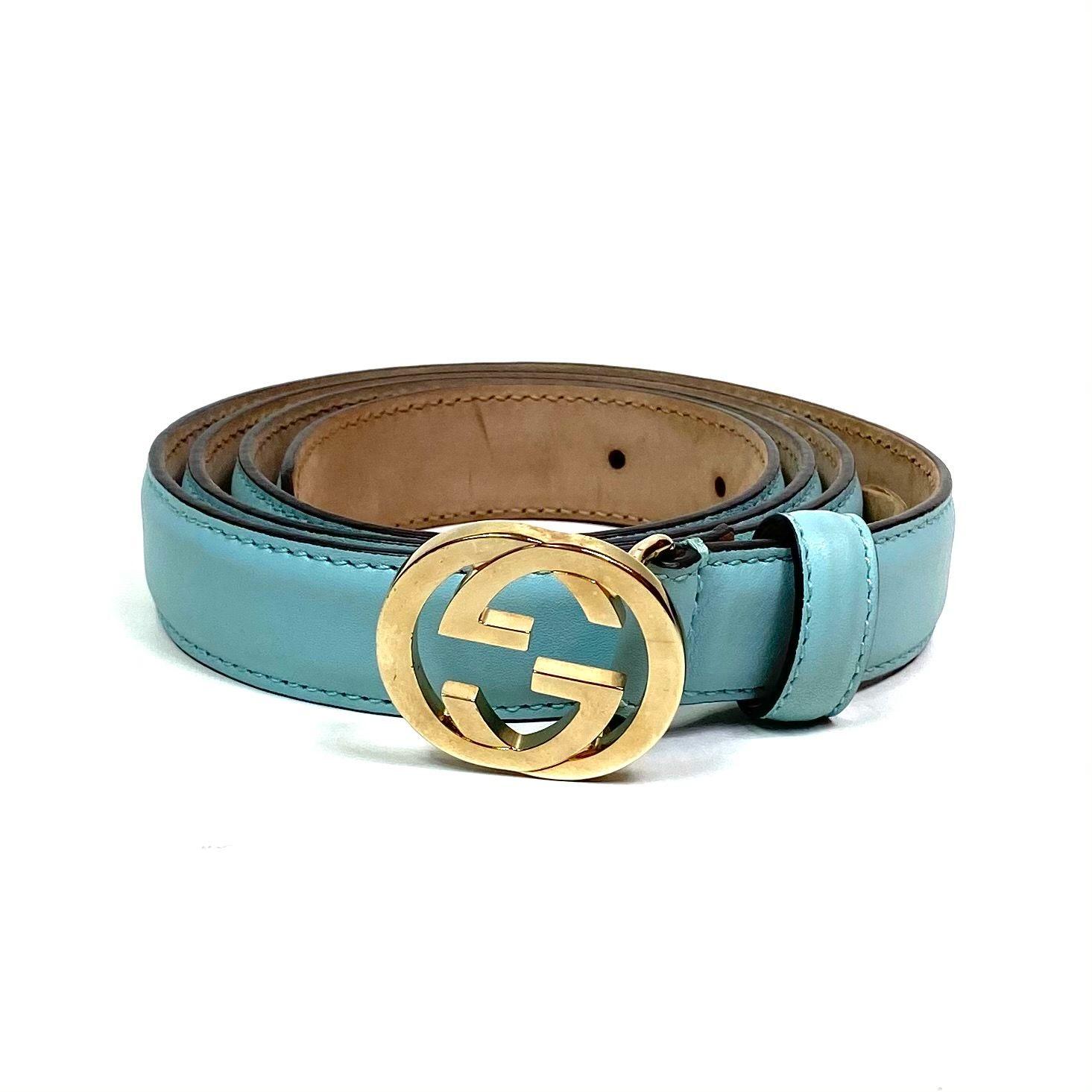 Cinto Gucci GG Azul Claro