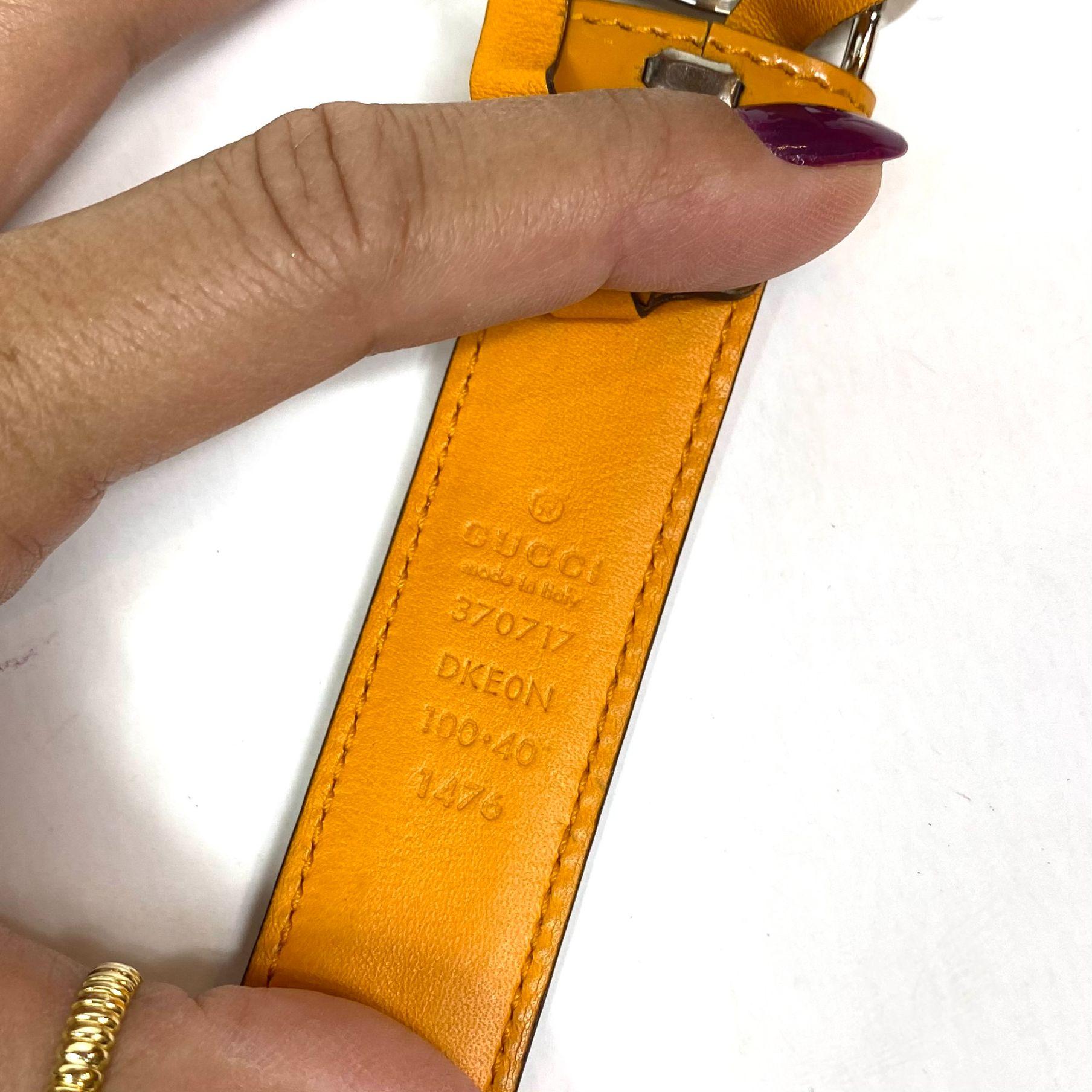 Cinto Gucci GG Verniz Laranja