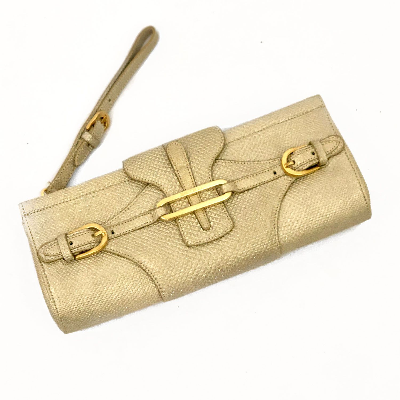 Bolsa Clutch Jimmy Choo Tulipa Dourada