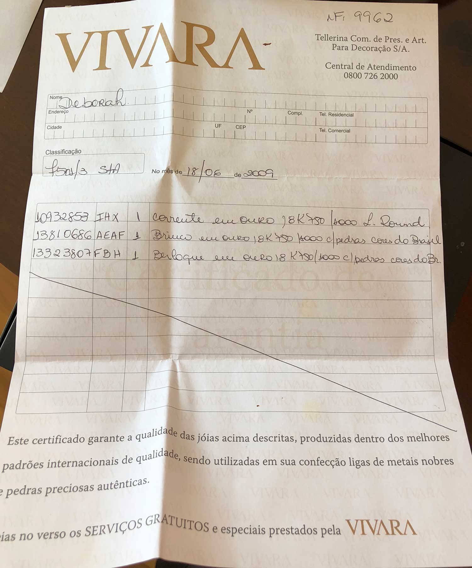 Conjunto Vivara Brinco e Colar Ouro Branco 18k Pedras Brasileiras