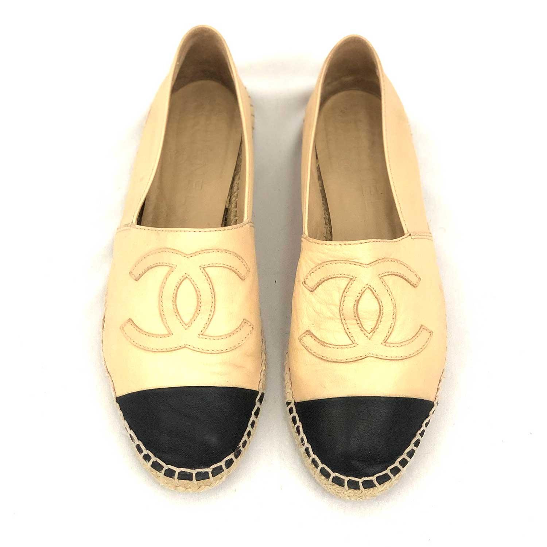 Espadrille Chanel Couro Beige e Preto