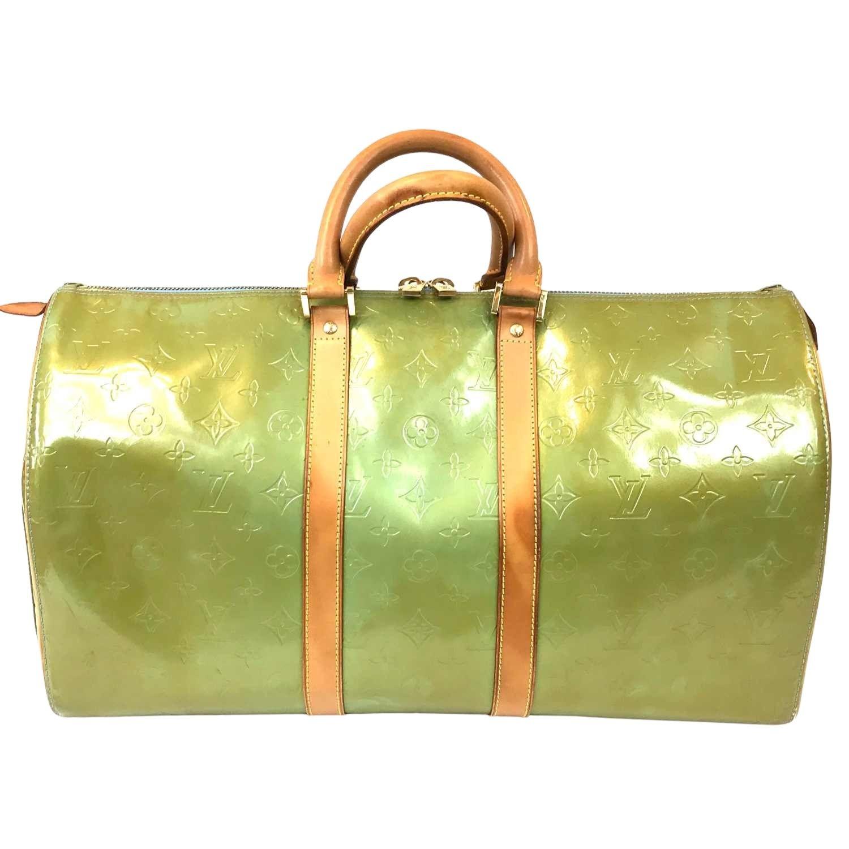 Mala de Mão Louis Vuitton Keepall 45 Verniz Verde
