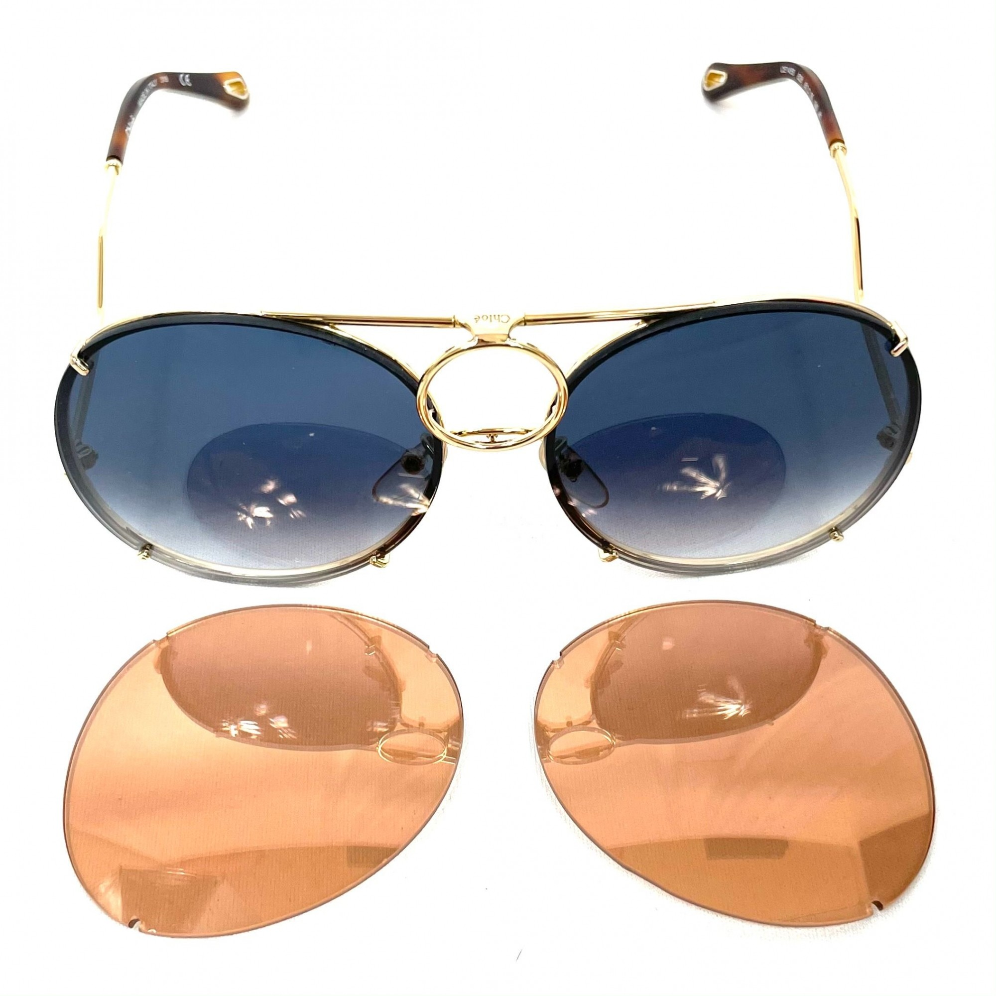Óculos Chloé Vicky Aviador Dourado