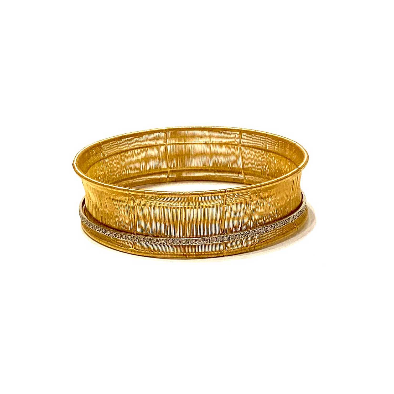 Pulseira Vivara Fina Coleção Esteira Ouro Amarelo e Diamantes