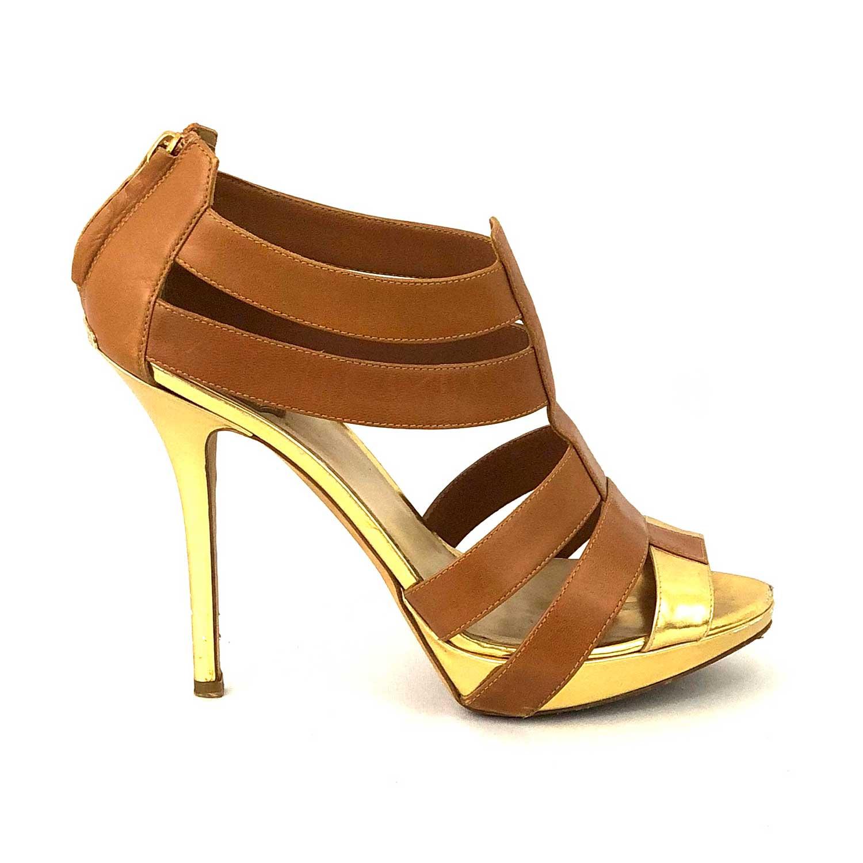 Sandália Christian Dior Caramelo e Dourada