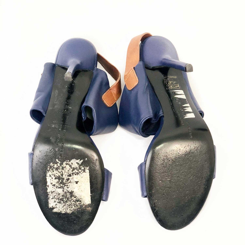 Sandália DVF Azul Fivela Couro