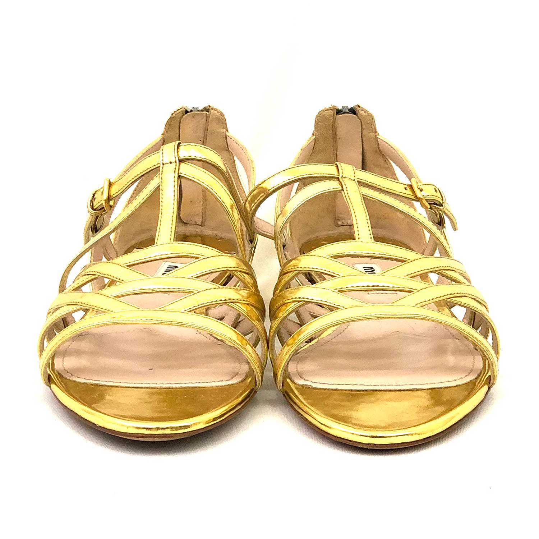 Sandália Miu Miu Dourada Tiras