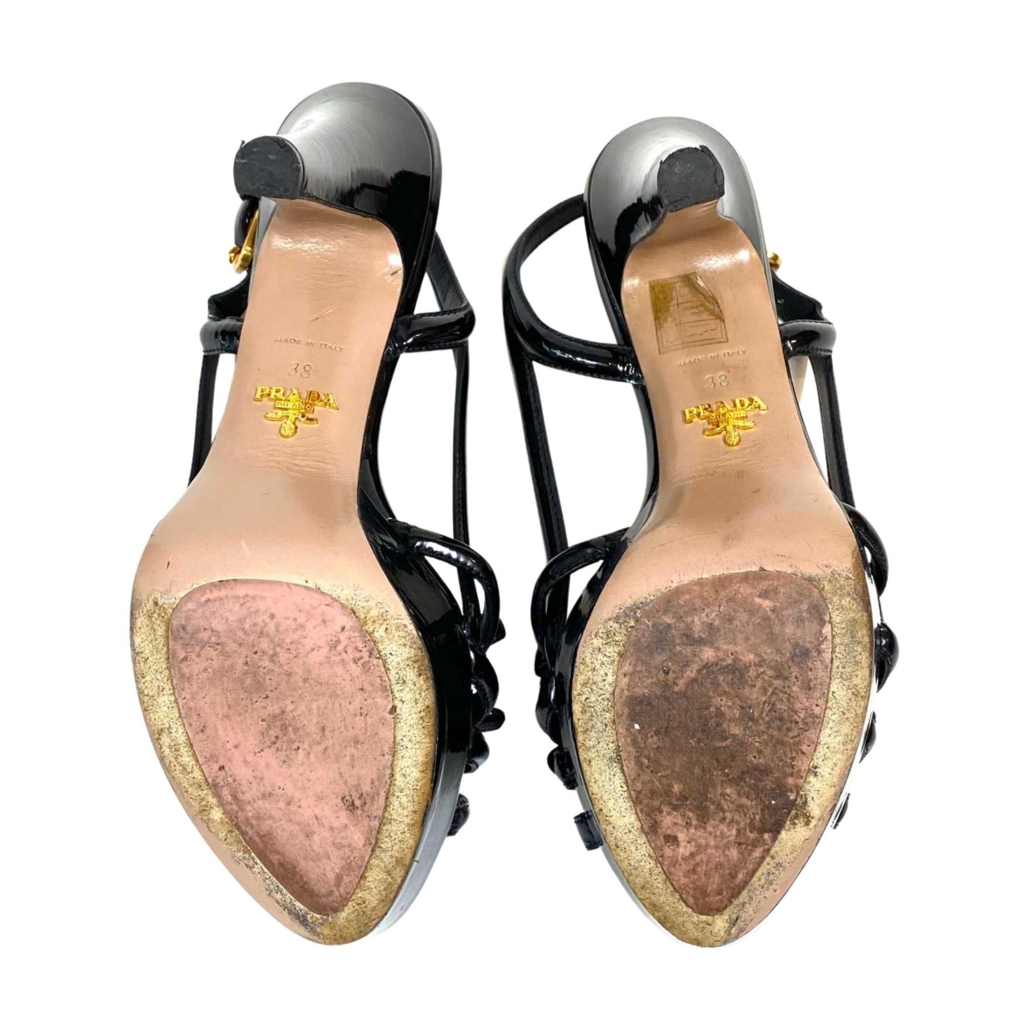 Sandália Prada Laço Verniz Preto