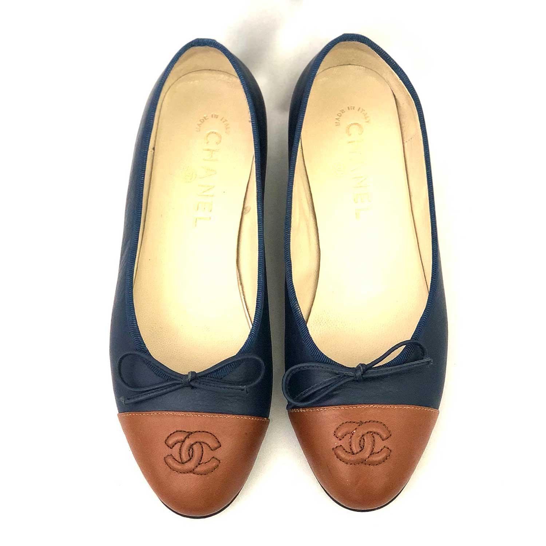 Sapatilha Chanel Bicolor Azul e Caramelo