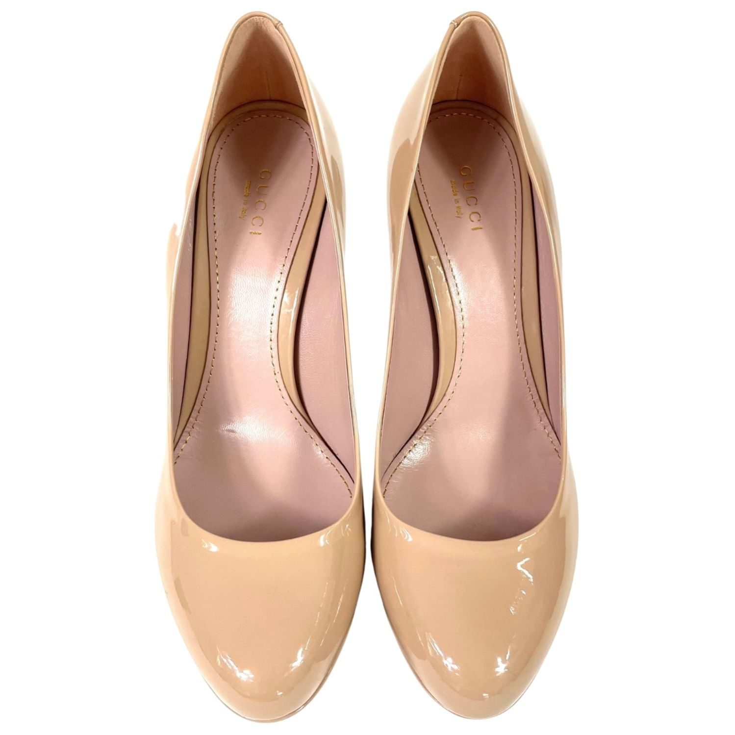 Sapato Gucci Lisbeth Verniz Beige