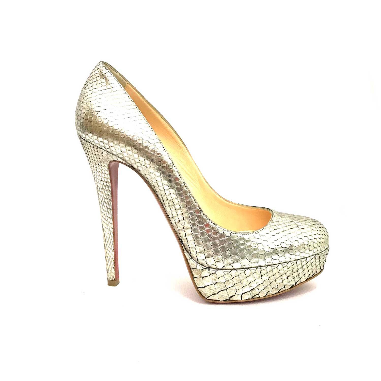 Sapato Louboutin Bianca 140 Phyton Prata