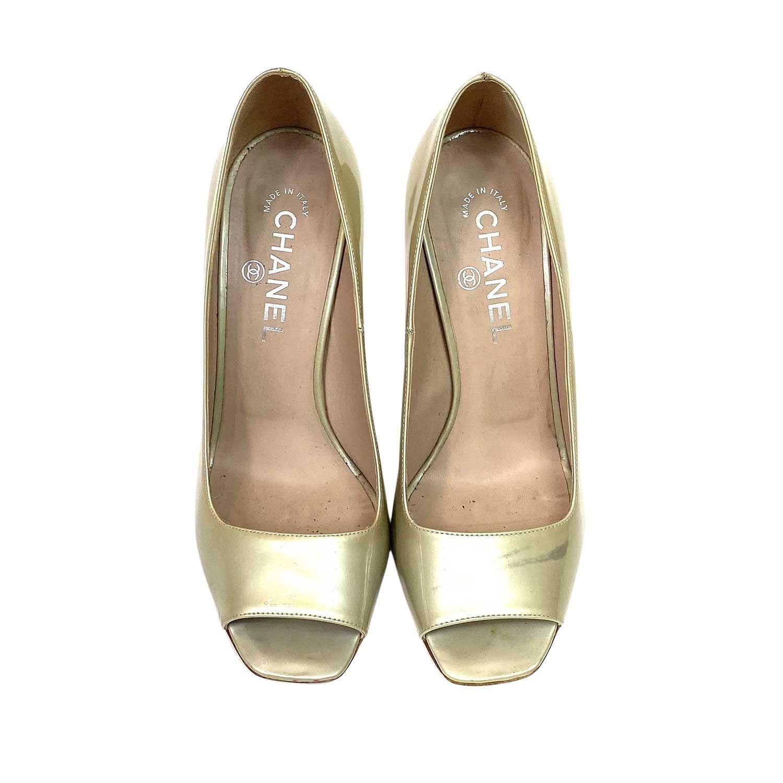 Sapato Peep Toe Chanel Verniz